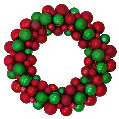 Red and Green 3-Finish Shatterproof Ball Christmas Wreath - 24-Inch, Unlit - IMAGE 1