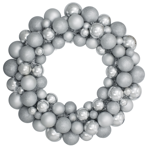 "Silver Splendor 3-Finish Shatterproof Ball Christmas Wreath  24"" - Unlit - IMAGE 1"