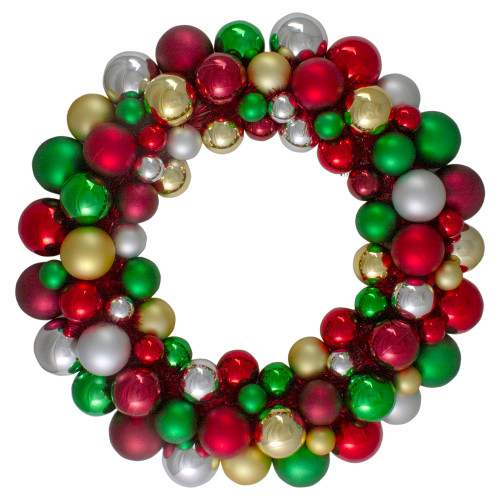 Traditional Colored 2-Finish Shatterproof Ball Christmas Wreath - 24-Inch, Unlit - IMAGE 1