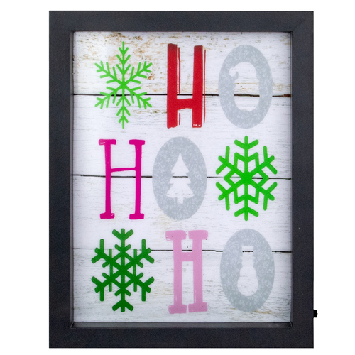"9"" LED Lighted ""HO, HO, HO"" with Snowflakes Christmas Wall Art - IMAGE 1"