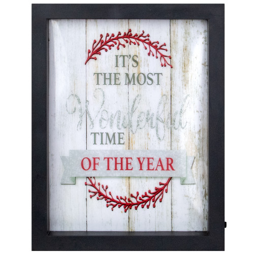 """9"""" Black Framed """"Its The Most Wonderful Time Of The Year"""" LED Christmas Wall Art - IMAGE 1"""