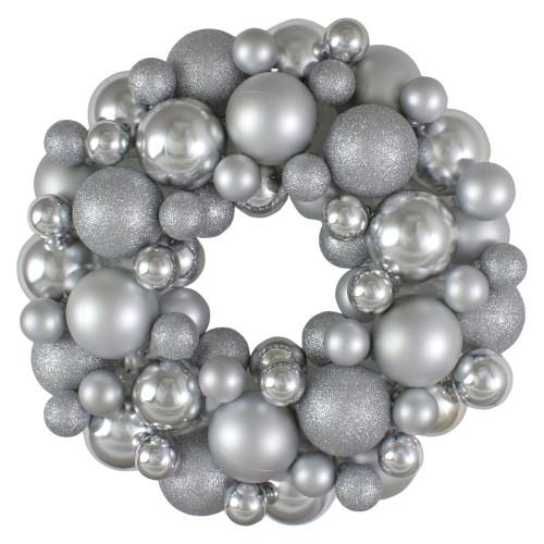 Silver Splendor 3-Finish Shatterproof Ball Christmas Wreath - 13-Inch, Unlit - IMAGE 1