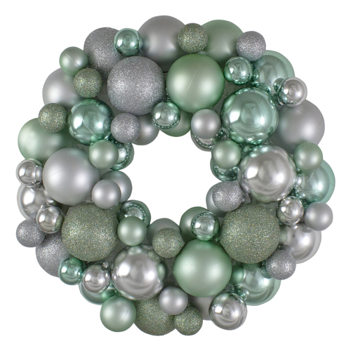 Silver and Seafoam Green 3-Finish Shatterproof Ball Christmas Wreath - 13-Inch, Unlit - IMAGE 1