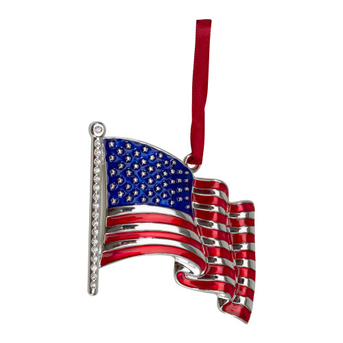 """3.25"""" Silver Plated American Flag with European Crystals Christmas Ornament - IMAGE 1"""