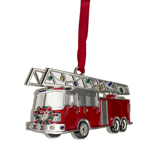 """3.5"""" Silver Plated Fire Truck with European Crystals Christmas Ornament - IMAGE 1"""