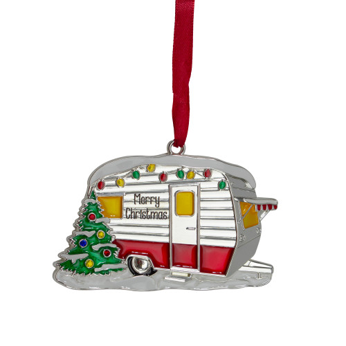 """3.5"""" Silver Plated Camper with European Crystals Christmas Ornament - IMAGE 1"""