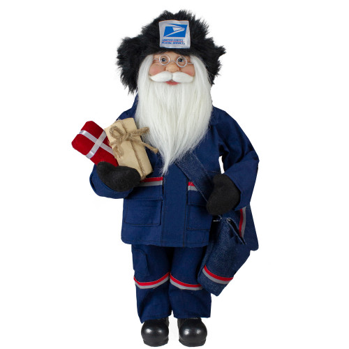 """17"""" Blue and Red United States Postal Service Standing Santa Claus Christmas Figure - IMAGE 1"""
