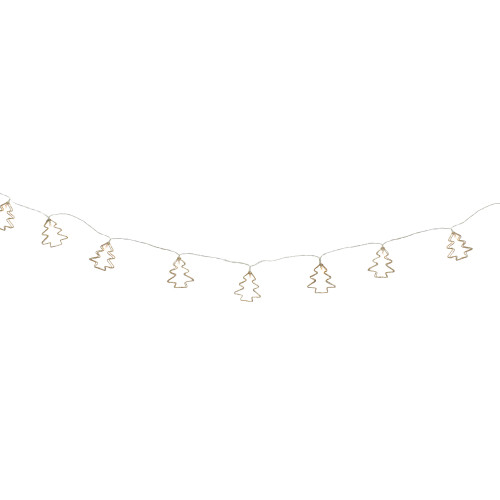 4' LED Lighted B/O Gold Wire Mini Tree Christmas Garland - Warm White Lights - IMAGE 1