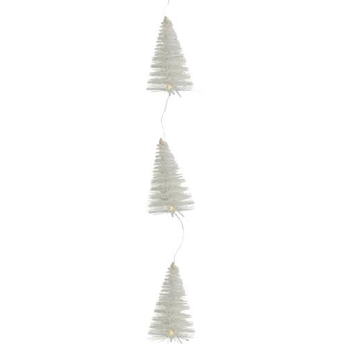 6.5' LED Lighted White Mini Sisal Tree Christmas Garland - Warm White Lights - IMAGE 1