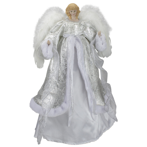 """18"""" Lighted White and Silver Angel in a Dress Christmas Tree Topper - Warm White Lights - IMAGE 1"""