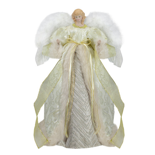 "18"" Lighted White and Gold Angel in a Dress Christmas Tree Topper - Warm White Lights - IMAGE 1"