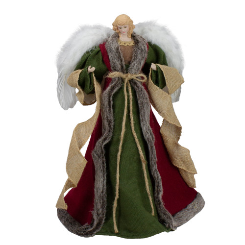 """18"""" Green and Brown Angel in a Dress Christmas Tree Topper - Unlit - IMAGE 1"""