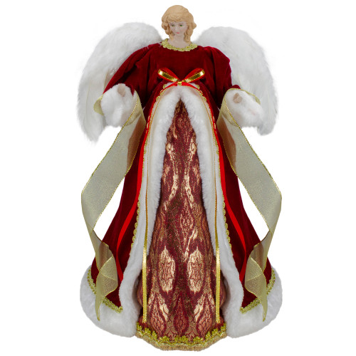 """18"""" Red and Gold Angel in a Dress Christmas Tree Topper - Unlit - IMAGE 1"""