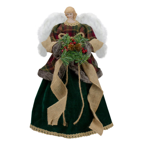 """18"""" Red and Green Angel in a Dress Christmas Tree Topper Accented with Holly Berries - Unlit - IMAGE 1"""