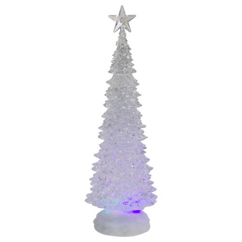 """13.5"""" LED Lighted Glitter Snow Globe Christmas Tree - Multi Lights - IMAGE 1"""