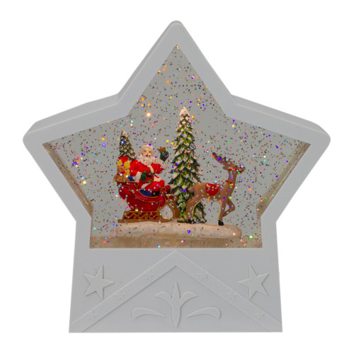"7"" Lighted White Star Christmas Snow Globe with Santa in Sleigh - IMAGE 1"