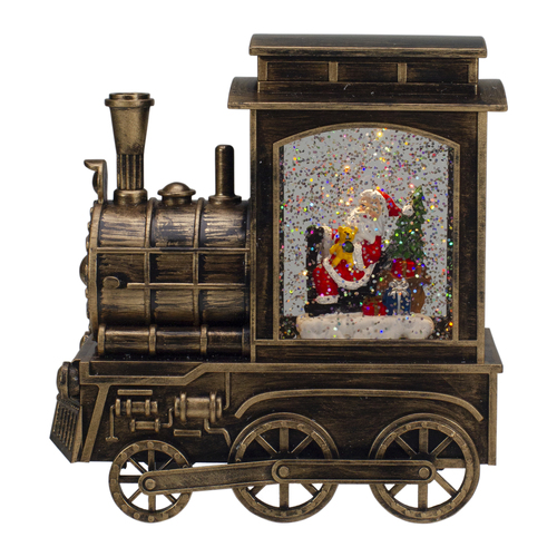 "6.75"" Lighted Black Train Christmas Snow Globe with Santa - IMAGE 1"