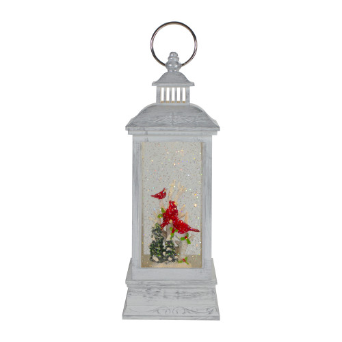 """11"""" White and Brushed Silver Christmas Cardinals Snow Globe Lantern - IMAGE 1"""