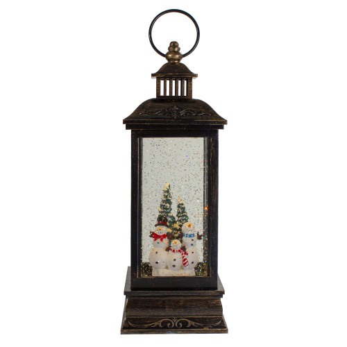 "11"" Black with Brushed Gold LED Snowman Family Christmas Lantern Snow Globe - IMAGE 1"