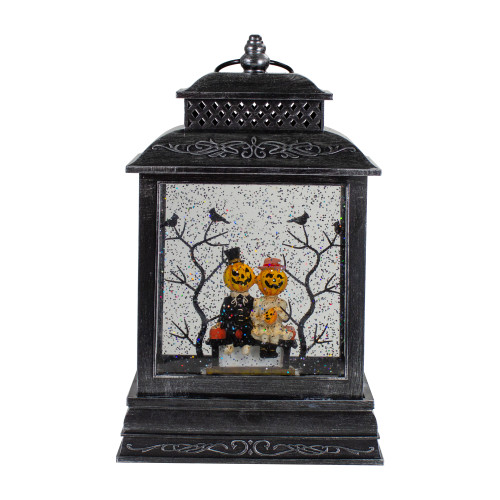 "11.5""Lighted Black Halloween Snow Globe Lantern with Pumpkin Couple - IMAGE 1"