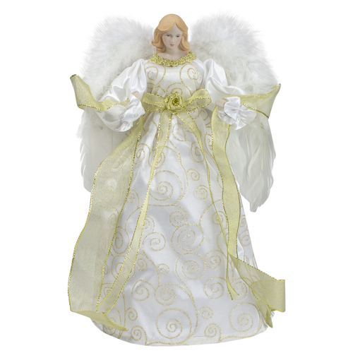 """14"""" Lighted White and Gold Angel in a Dress Christmas Tree Topper - Warm White Lights - IMAGE 1"""