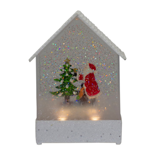 """8.25"""" White and Red House Shaped Christmas Snow Globe - IMAGE 1"""