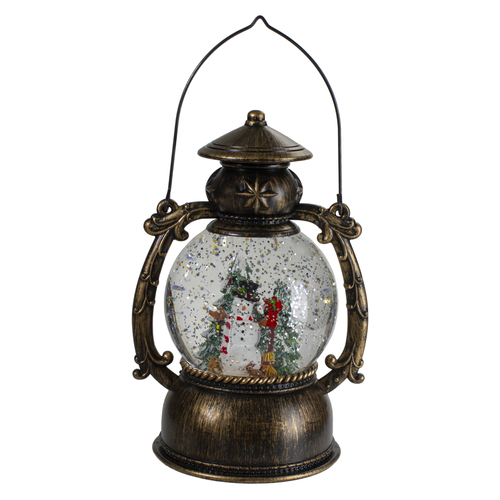 8-Inch Black with Brushed Gold LED Snowman and Christmas Trees Snow Globe Lantern - IMAGE 1