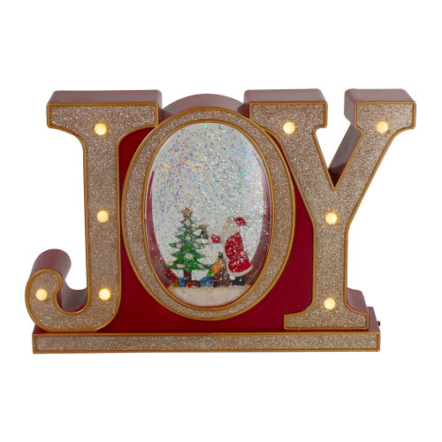 """11"""" LED Lighted Red and Gold Joy Christmas Glitter Snow Globe - IMAGE 1"""