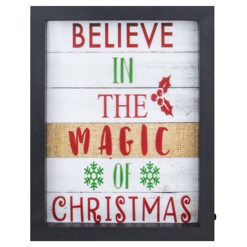 """9"""" LED Lighted 'Believe in the Magic of Christmas' Shadow Box Wall Art - IMAGE 1"""