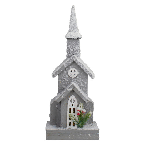 """16"""" Lighted White and Gray Snowy Church Christmas Tabletop Decoration - IMAGE 1"""