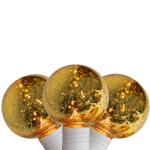 10ct Gold Mercury Glass Style G40 Christmas Lights - 5.25ft, White Wire - IMAGE 1