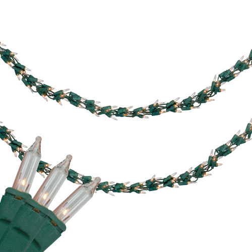 300-Count Clear Mini Christmas Light Garland Set, 9ft Green Wire - IMAGE 1