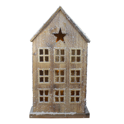 """30"""" Snow-Covered Rustic Wooden House Christmas Tabletop - IMAGE 1"""