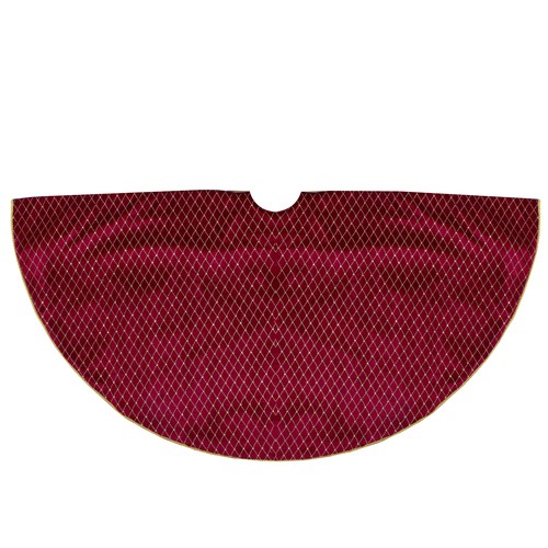 """48"""" Red and Gold Diamond Pattern Christmas Tree Skirt - IMAGE 1"""