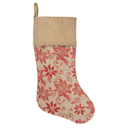 "20"" Tan and Red Rustic Burlap Poinsettia Christmas Stocking - IMAGE 1"