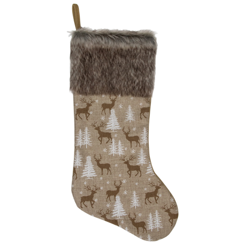 "20"" Brown Reindeer Christmas Stocking with Faux Fur Cuff - IMAGE 1"