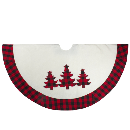 "48"" White, Red and Black Buffalo Plaid Tree Christmas Tree Skirt - IMAGE 1"