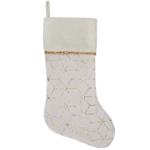 "20"" Cream and Gold Faux Fur Geometric Pattern Christmas Stocking - IMAGE 1"