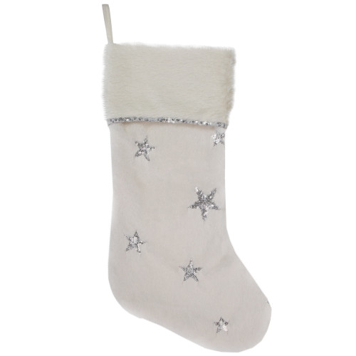 "20"" White with Silver Stars Christmas Stocking with Faux Fur Cuff - IMAGE 1"