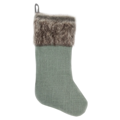 "20"" Green Burlap Christmas Stocking with Faux Fur Cuff - IMAGE 1"