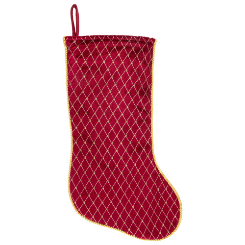 """20"""" Red and Gold Diamond Pattern Christmas Stocking - IMAGE 1"""