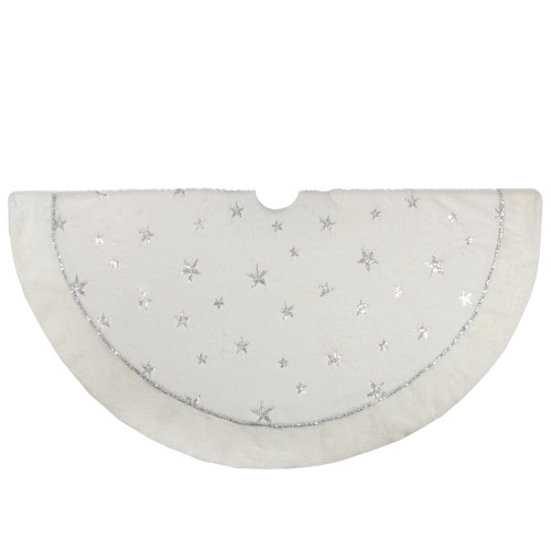 """48"""" White with Silver Sequined Stars Christmas Tree Skirt - IMAGE 1"""