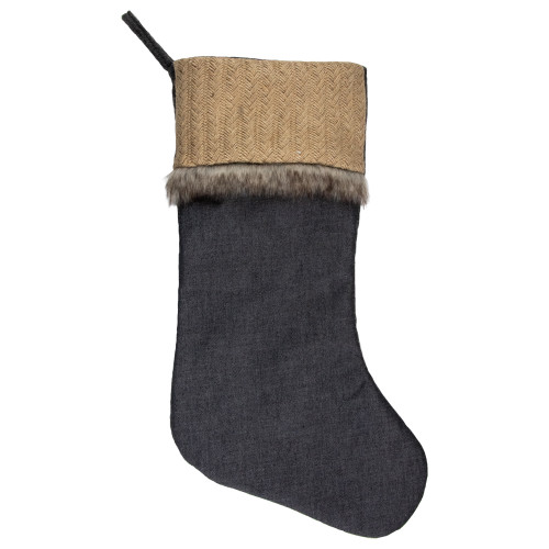 "20"" Rustic Burlap and Chambray Christmas Stocking - IMAGE 1"