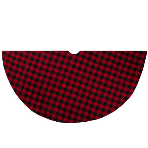 "48"" Red and Black Buffalo Plaid Christmas Tree Skirt - IMAGE 1"
