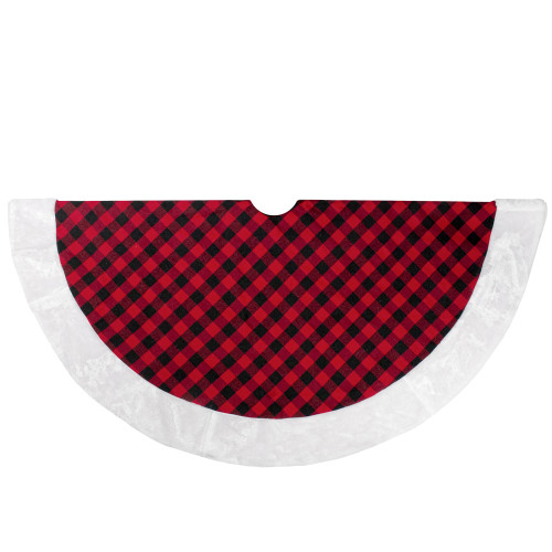 "48"" Red and Black Buffalo Plaid Christmas Tree Skirt with Faux Fur Trim - IMAGE 1"