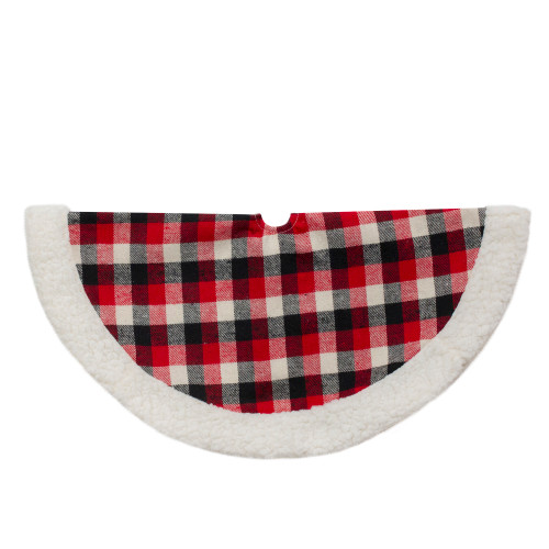 20-Inch Red, Black, and Ivory Plaid Mini Christmas Tree Skirt with Sherpa Trim - IMAGE 1
