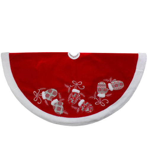 48-Inch Red and White Embroidered Winter Mittens Christmas Tree Skirt - IMAGE 1