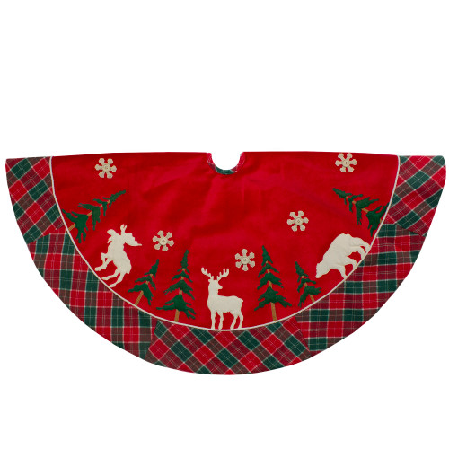 48-Inch Red and Green Velvet Plaid Christmas Tree Skirt - IMAGE 1