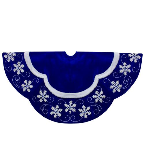 48-Inch Velvet Royal Blue and White Snowflake Christmas Tree Skirt - IMAGE 1
