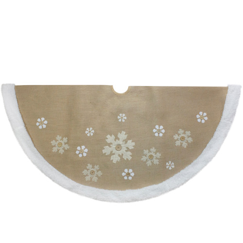 48-Inch Beige and White Snowflake Embroidered Christmas Tree Skirt - IMAGE 1